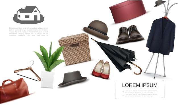 Collezione di elementi di guardaroba realistici con appendiabiti per borsa, cappelli fedora, ombrello, piante, scatole per scarpe maschili e femminili per calzature e indumenti