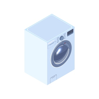 Realistic washing machine isometric illustration