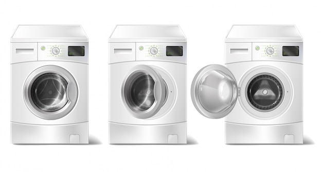 Realistic washing machine with front-loader and smart display