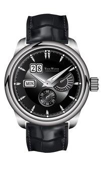 リアルな時計時計クロノグラフシルバーレザーストラップブラックオンホワイトクラシックラグジュアリー