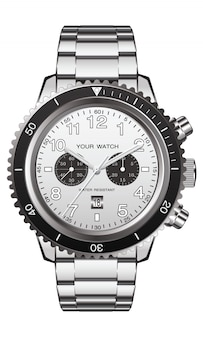 Realistic watch clock chronograph stainless steel