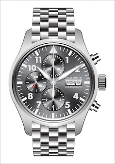 Realistic watch clock chronograph steel white background.