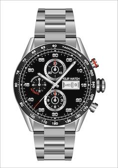 現実的な腕時計時計クロノグラフ鋼の白い背景。