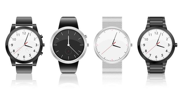 Реалистичные часы набор дизайн иллюстрация на белом фоне
