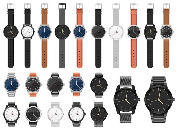 Реалистичные часы набор дизайн иллюстрации, изолированные на белом фоне