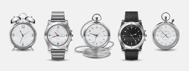 リアルな時計。 3dの正方形および円形の壁時計、腕時計、目覚まし時計、金属製およびプラスチック製のベゼルと文字盤を備えたクロノメーター。壁または手のベクトル設定時間ポインター