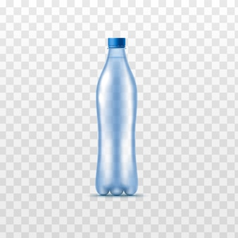Realistic water bottle isolated  - plastic container of clear blue drink liquid without label with closed lid. vector illustration.