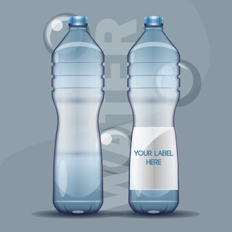Realistic water bottles with bubbles