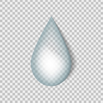 Реалистичная капля воды на прозрачном фоне.