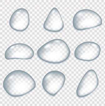 현실적인 물 방울, 비 후 방울. 유리 구, 고립 된 비 요소입니다. 결로 표면 또는 안개가 자욱한 유리.