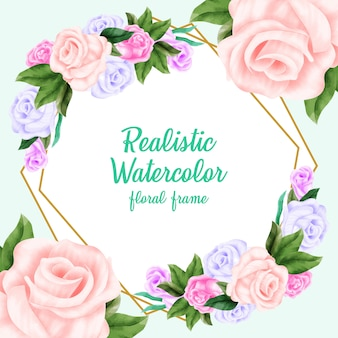 Realistic watercolor floral frame background