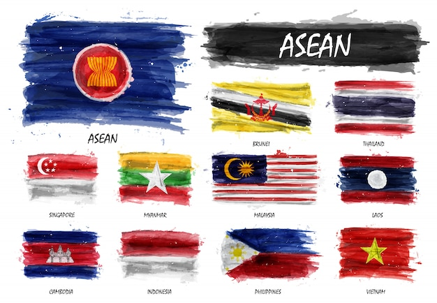 Realistic watercolor painting flag of asean and membership