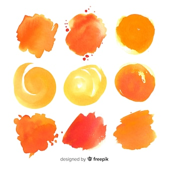 Realistic watercolor shapes collection