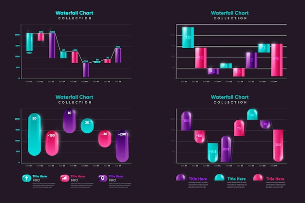 Realistic waterfall chart collection