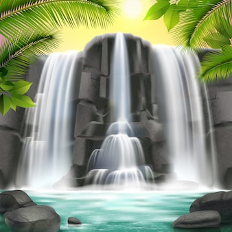 Realistic waterfall and rocks