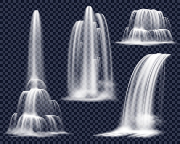 Realistic waterfalls on transparent background set