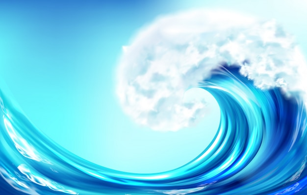 Realistic wave big ocean or sea curve water splash