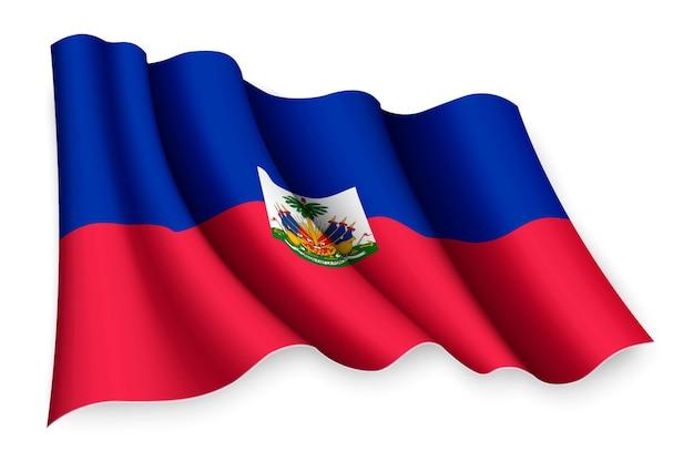 Realistic waving flag of haiti
