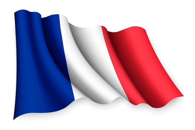 白で隔離される現実的な手を振る旗