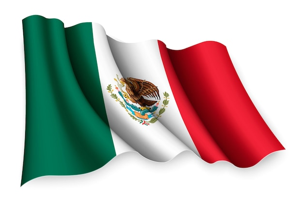 Реалистичный развевающийся флаг мексики