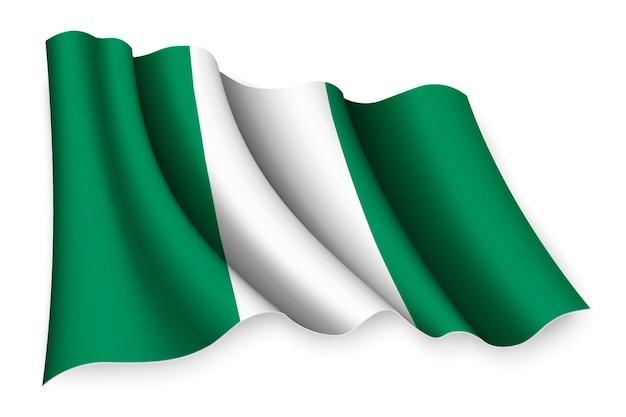 Реалистичный развевающийся флаг нигерии