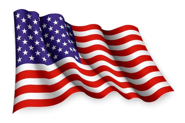 アメリカのリアルな手を振る旗