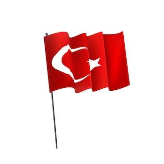 白い背景の上の現実的な手を振っているトルコの旗。