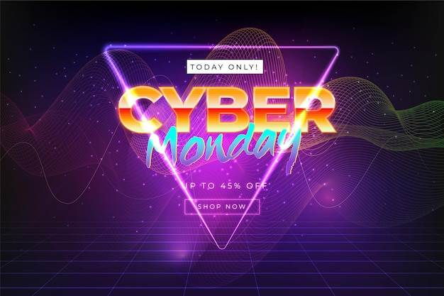 Realistic wavy cyber monday background