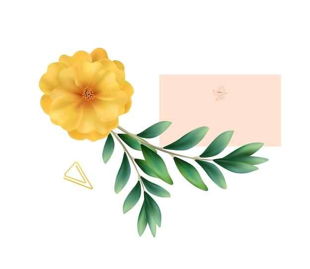 ウェディングカードと花でリアルなウェディング構成