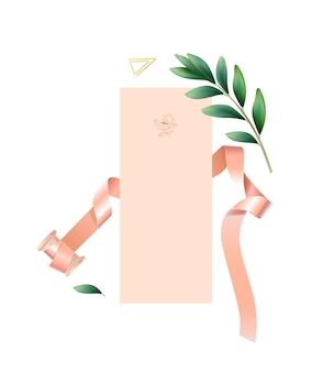 結婚式のカード、ピンクのリボンと葉でリアルな結婚式の構成