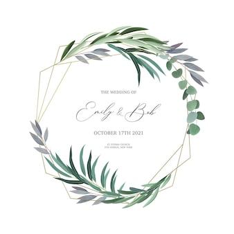 Realistico telaio di design invito a nozze con foglie di eucalipto e illustrazione del campo di testo