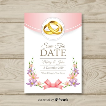 Realistic wedding invitation template