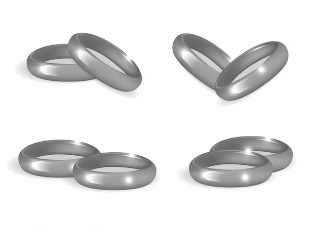 Realistic wedding silver rings set.  bands collection  on white background.  illustration.