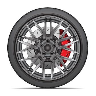 Realistic wheel alloy tire radial break disk white background.