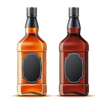 Realistic whiskey, rum or brandy bottles