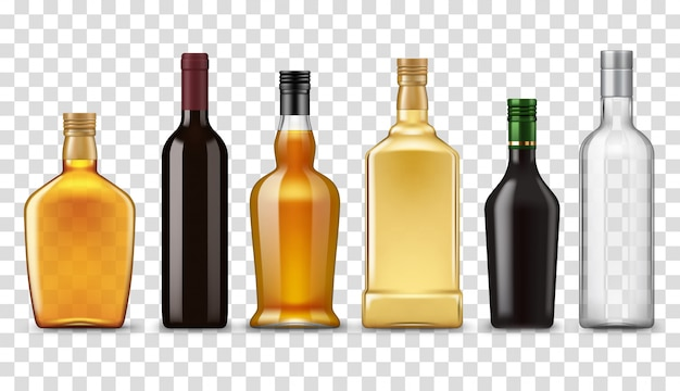 Realistic whiskey, vodka, rum and wine bottles