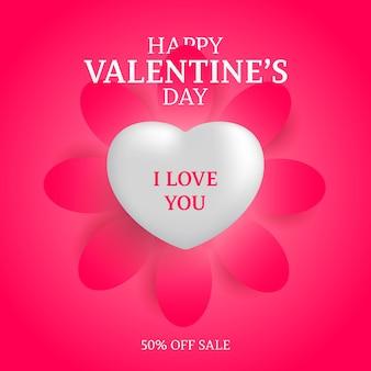 Реалистичный белый 3d романтический валентина сердце плавает с вырезом бумаги цветок печати