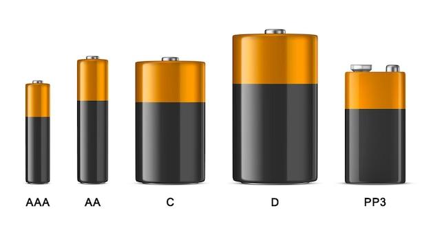 Реалистичный набор белых щелочных батарей разного размера aaa aa cd pp3 дизайн шаблона макета