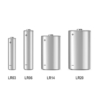 Realistic white alkaline battery icon set. different size