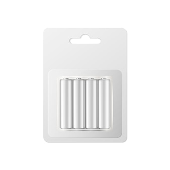 Realistic white alkaline battery set.