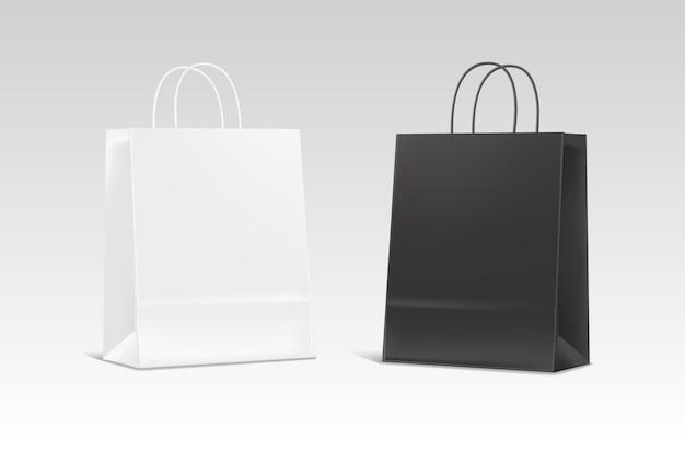 현실적인 흰색과 검은 색 종이 봉지