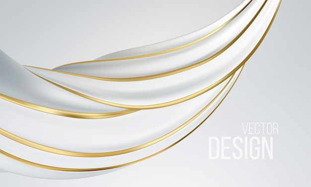 白い背景に分離されたリアルな白とゴールドの渦巻き形状。