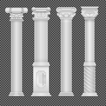 Realistic white antique roman column isolated on transparent