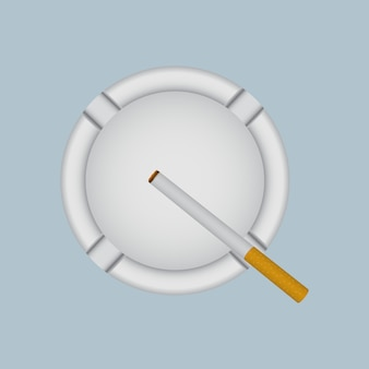 Realistic white ashtray with lit cigarette.