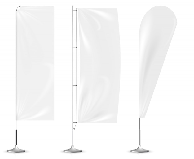Realistic white banner flags 3d mockup.