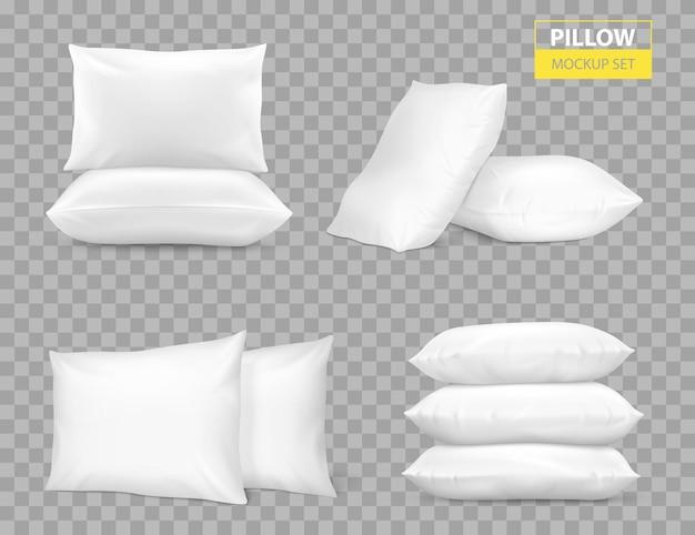 Реалистичная белая спальня с прямоугольными подушками сбоку и сверху, комбинации макетов, прозрачный фон, векторная иллюстрация