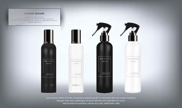 Realistic white and black cosmetic bottles set