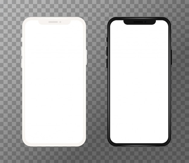 Realistic white and black mobile phone, blank screen
