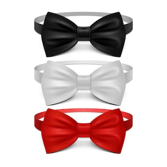 Realistic white, black and red bow tie set. bow tie for ceremony, classic garment tie
