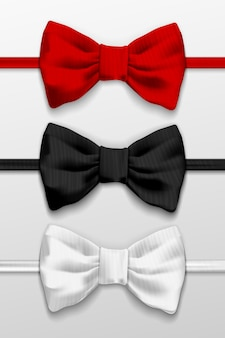 Realistic white, black and red bow tie, vector illustration, isolated on white background